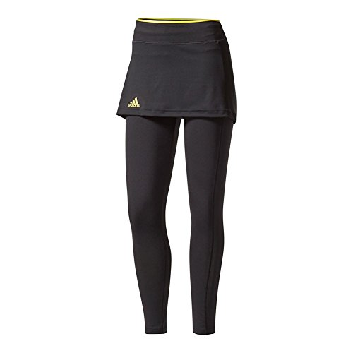 adidas Womens Tennis US Open Skirt Leggings, Black/Bright Yellow, X-Large