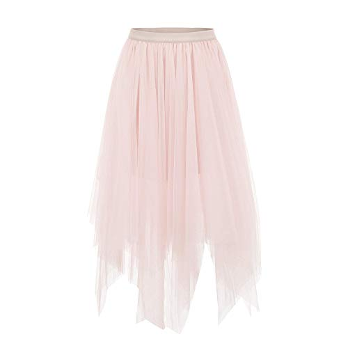 Joeoy Women's Pink Layered Asymmetrical Mesh Tutu Tulle Skirt Prom Party Skirt-S -