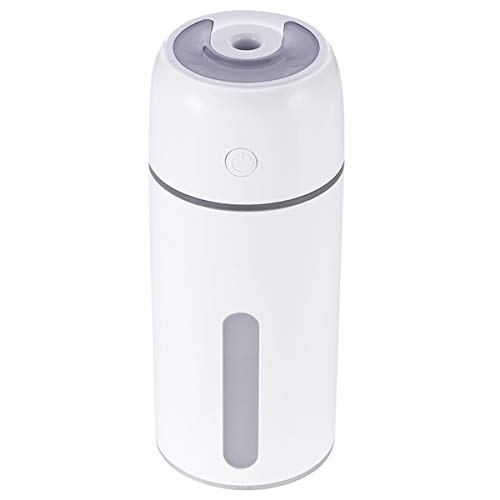 Ruiqas Mini Portable Humidifiers, Portable Cup Shape Air Humidifier Aroma Essential Oil Diffuser with Night Light for Car Home Office (Color : White)