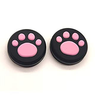 2 x Silicone Analog Controller Thumb Stick Joystick Grips Cap for Nintendo Switch NS/Switch Lite Controller Joy-Con ThumbStick Cute Cat Paw Claw (Pink)