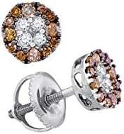 10K White Gold Brandy Diamond Chocolate Brown Flower Halo Design Stud Earrings 1/3 Ctw.