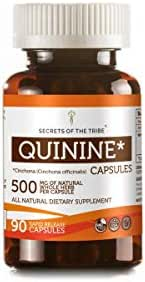 Secrets Of The Tribe Quinine Capsules 500 mg Wildcrafted Quinine (Cinchona officinalis) Dried Bark, Leg Cramp Support Supplement (90 Capsules)