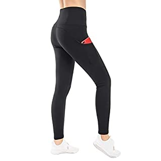 THE GYM PEOPLE Thick High Waist Yoga Pants with Pockets, Tummy Control Workout Running Yoga Leggings for Women (Large, Black  )