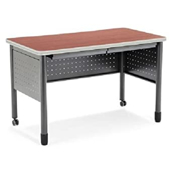 OFM Mesa Series Training Table With Drawer   Durable Mobile Utility Desk  With Drawers, Cherry