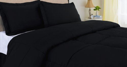 Black Full/Queen 240 Thread Count Cottonloft Colors Cotton Comforter