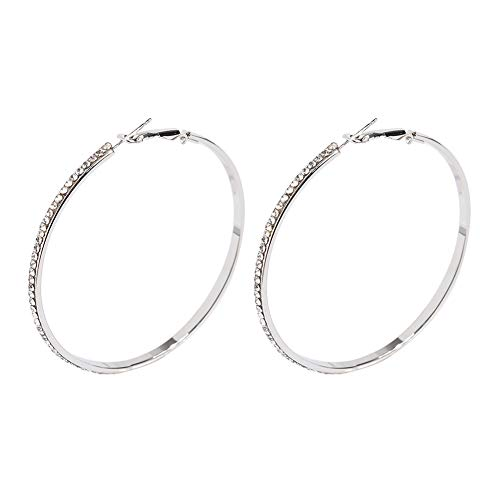 Large Hoop Earrings for Women - Big Hoop Earrings Gift for Women,idea Birthday Gift for Party,Daily, (Silver Pave)