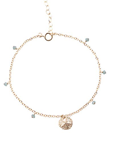 (MaeMae 14k Gold Filled Sand Dollar Charm Anklet, 3mm Swarovski Crystals, Cable Chain, 8.5