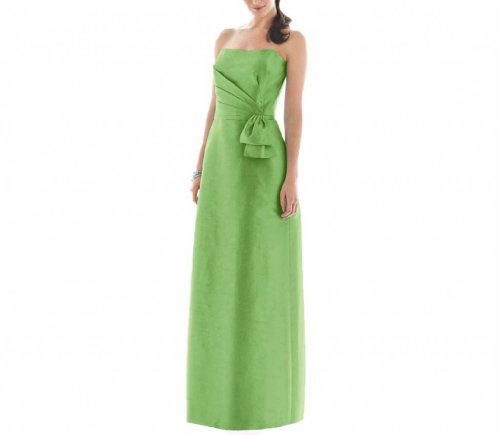 Dearta Women's Sheath Strapless Floor-Length Taffeta Dress US 18 Sage ()
