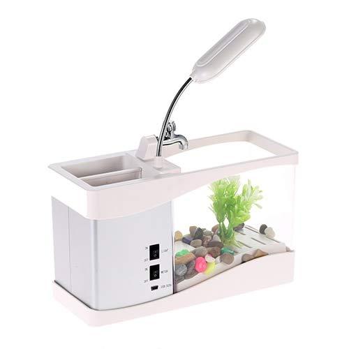 Usb Mini Fish Tank Desktop Electronic Aquarium Mini Fish Tank with Water Running LED Pump Light Calendar Clock White Black white, S