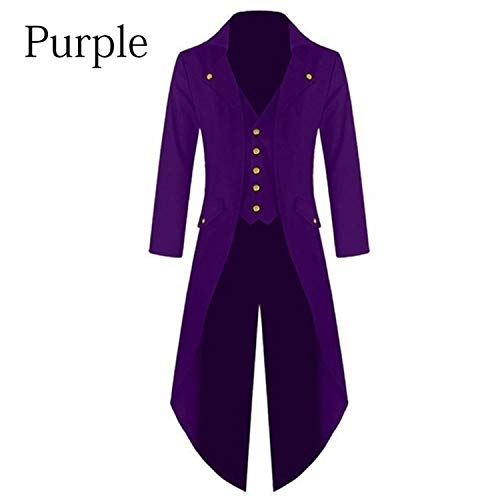 2019 Warm Style Halloween Cosplay Tuxedo Long Uniform Dress Renaissance Cos Noble Punk Man's Solid Coat S-4XL Purple L
