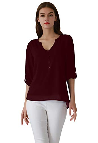 - OMZIN Ladies Work Attire Active Roomy Relaxed Fit Loosely Jerseys Tunics Wine Red M