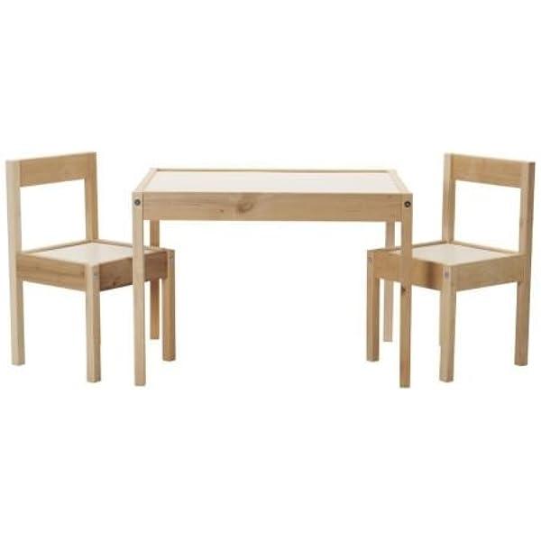 LÄTT - Mesa infantil con 2 sillas a juego de madera de pino, color blanco: Amazon.es: Juguetes y juegos