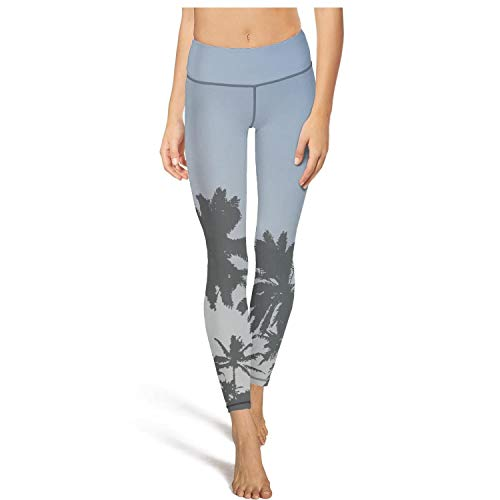 Summer Tropical Palm Trees and Blue Sky Yoga Pants Sports Workout Leggings Tight Pants ()