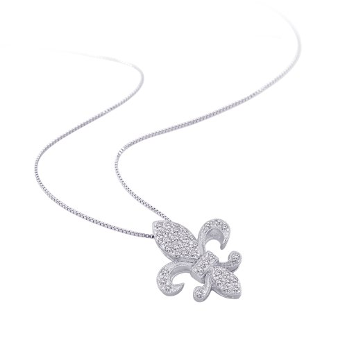 "Diamond ""Fleur De Lis"" Milgrain Pendant Necklace in 10K White Gold (1/6 cttw) (Color GH, Clarity I3 I4)"