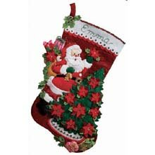 Bucilla 18-Inch Christmas Stocking Felt Applique Kit, 86142 Santa Poinsettia Tree