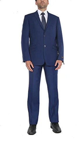 P&L Men's Premium Slim Fit 2-Piece Suit Blazer Jacket & Flat Pants (Premium Wool Trousers)