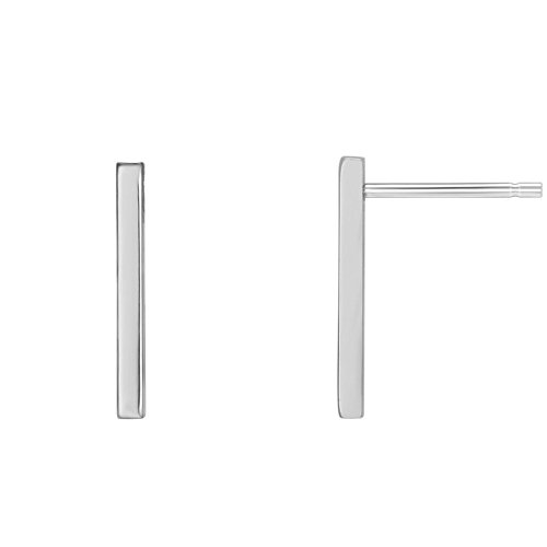 (PAVOI 14K White Gold Plated Sterling Silver Post Dainty Mini Bar Stud Earrings   Gold Earrings for Women   Short)
