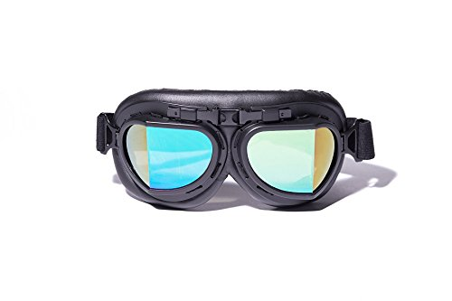 CRG Sports Vintage Aviator Pilot Style Motorcycle Cruiser Scooter Goggle T08 T08BRB Multi-color lens, black frame, black padding