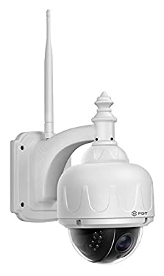 FDT Outdoor PTZ (4x Optical Zoom) HD 960p WiFi IP Camera (1.3 Megapixel), IP65 Weatherproof, Wireless Security Camera FD7903 (White), Pan/Tilt/Zoom, Night Vision - 65ft (20meters) w/ 32GB SD Card by FDT