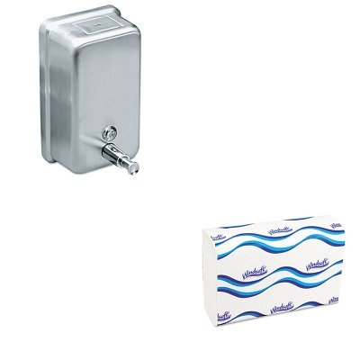 KITIMP4040WNS101 - Value Kit - Impact Products 4040 Vertical Metal Soap Dispenser, 40 Ounces (IMP4040) and Windsoft 101 Bleached White Embossed C-Fold Paper Towels (WNS101)