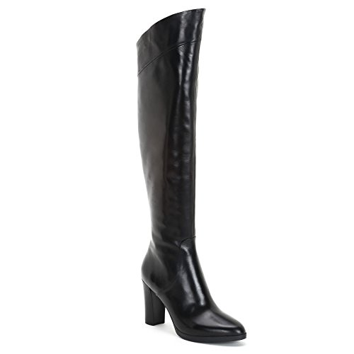 Knee Alesya by High Boots Scarpe Leather Black In 9 Heel height cm Oblique amp;Scarpe wF11qIZ