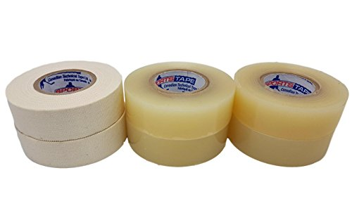 Hockey Pack (Hockey Tape Combo Pack - Two White Stick Tape and Four Clear Sock Tape Rolls)