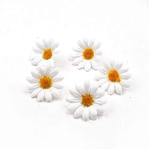 100pcs Artificial Flower Small Silk Sunflower Handmade Head Wedding Decoration DIY Wreath Gift Box Scrapbooking Craft Fake Flowe (White) 2