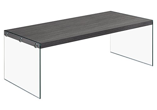 Monarch specialties  I 3220, Coffee Table, Tempered Glass, Grey, 44″L