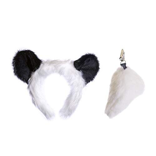 Wildlife Tree Plush Panda Ears Headband and Tail Set for Panda Costume, Cosplay, Pretend Animal Play or Safari Party Costumes]()