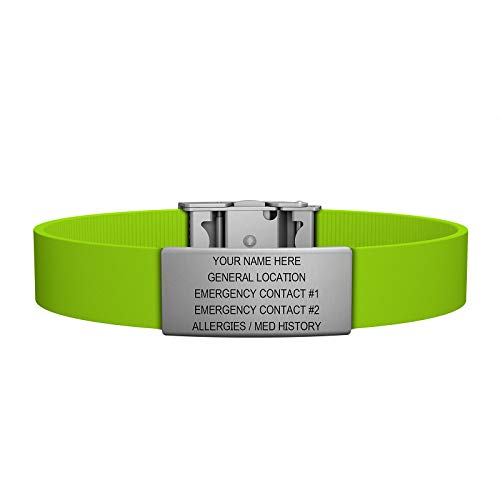 Road ID Bracelet - the Wrist ID Elite 13mm - Stainless Classic - Identification Bracelet, ID Wristband, Child ID, and Sport ID - Fits Adults & Kids (Lime)