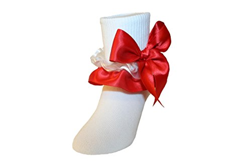 (Girls Ruffle Ankle Socks with Satin Organza & Bows in Assorted Colors (7-8.5 Girls, Red))