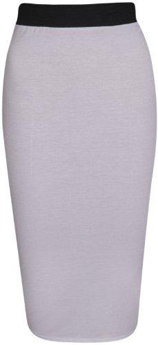 PurpleHanger Women's Tube Wiggle Pencil Midi Skirt Plus Size White 16-18
