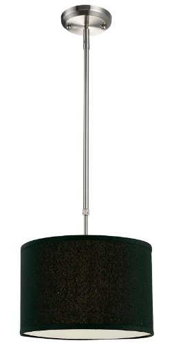 n One Light Pendant, Metal Frame, Brushed Nickel Finish and Black Shade of Fabric Material ()