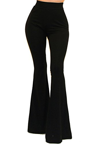 Vivicastle Women's Boho Solid Hippie Wide Leg Flared Bell Bottom Pants (Small, Black)