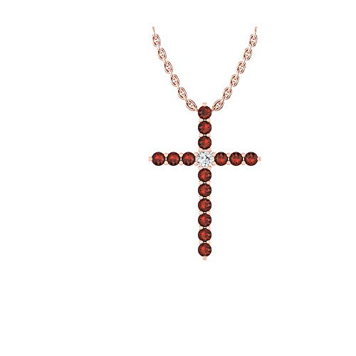 - 14k Rose Gold timeless cross pendant set with 15 round red ruby stones (1/4 ct, AA Quality) encompassing 1 round white diamond, (.025ct, H-I Color, I1 Clarity), dangling on a 18