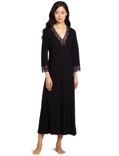 Natori Women's Lhasa Lounger Nightgown, Black With Black ...