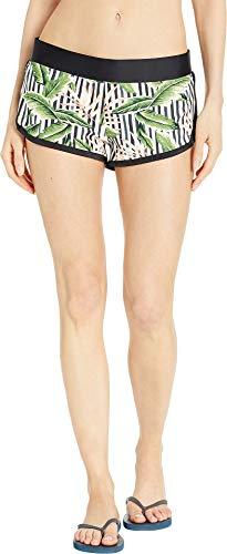 Body Glove Women's Pulse Elastic Waist Hybrid Pull On Swim Short with UPF 50+, Samoa Black, -