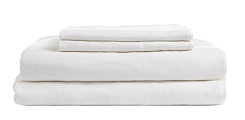 DAPU Pure Stone Washed Linen Sheets Set 100% French Natural Flax(Queen, White, Flat, Fitted and 2 - Linen Pure