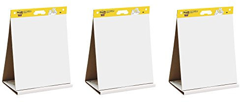Post-it Super Sticky Tabletop Easel Pad, 20 x 23 inches, 20 Sheets/Pad, 1 Pad (563 DE), Portable White Premium Self Stick Flip Chart Paper, Dry Erase Panel, Built-in Easel Stand (Pack of 3) ()