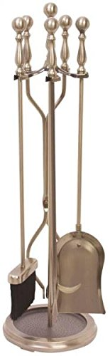 Rocky Mountain Goods Fireplace Tool Set 31'' - Shovel, Brush, Poker, Tongs, Stand - Heavy Duty Wrought Iron Tools with Decorative Finish - Ergonomic Ball Handles (Antique Brass) by Rocky Mountain Goods
