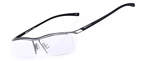 Bertha Men Z Pure Titanium Semi-rimless Eyeglasses Business Optical Frame 8189 (Silver)