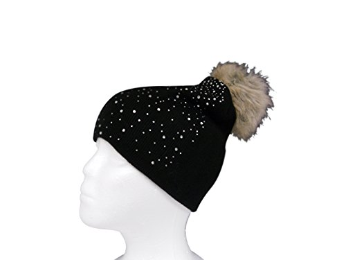 Womens Warm and Stylish Double Layer Faux Fur PomPom Beanie Hat with Rhinestone Sprakle - Slate (Burgundy Felt Bonnet)