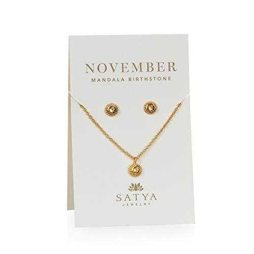 Satya Jewelry Women's Citrine Gold November Necklace and Earring Jewelry Set, One Size