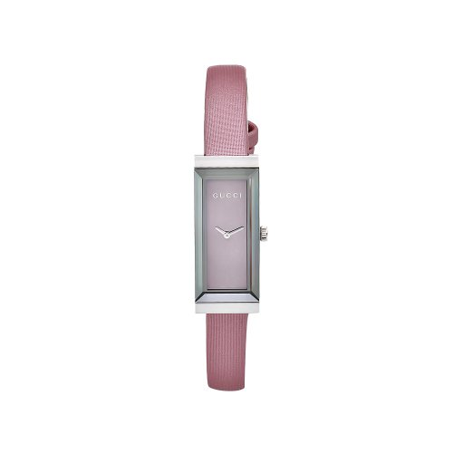 GUCCI Women's YA127502 Timeless Pink Satin Strap Mirror Dial Watch