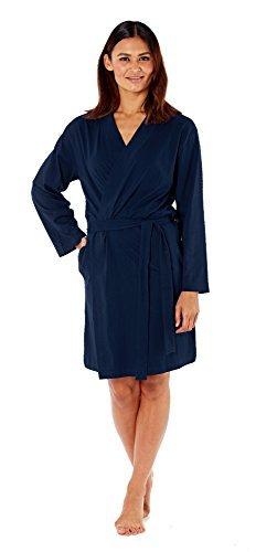 Mujer Suave Verano Algodón de Jersey Bata / Bata Azul Marino