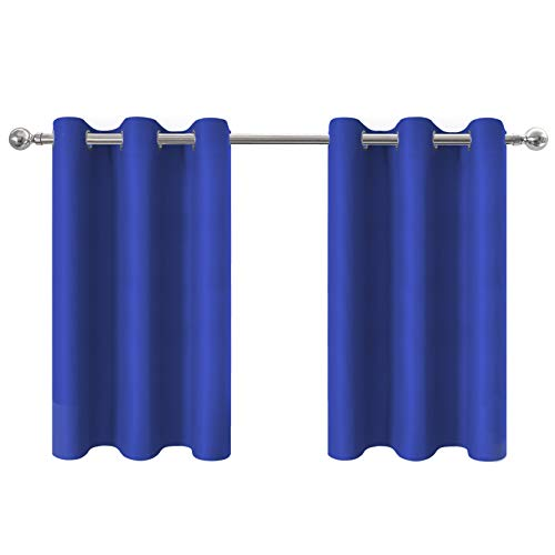 Aquazolax Blackout Curtains Tailored Tier - Privacy Enhancing Thermal Insulated Kitchen Grommet Top Curtain Panels for Short Windows, 42W by 36L Inches, Royal Blue, 2 Panels