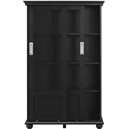 Barrister Βookcase Black with Glass Doors Bookshelf Wooden Cabinet Display 4 Shelves Standard Bookcase Home Office Lawyers Accent Cabinet Free Standing Organizer Furniture &eBook by BADA Shop