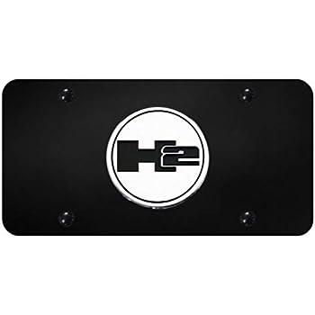 Hummer H2 Logo Powder Coated Black Gloss License Plate Frame Tag