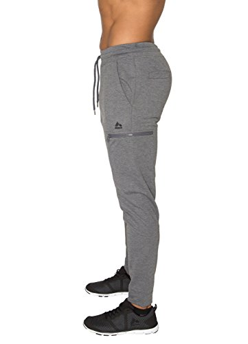 RBX Active Men's French Terry Jogger with Contrast Jogger Charcoal Heather L