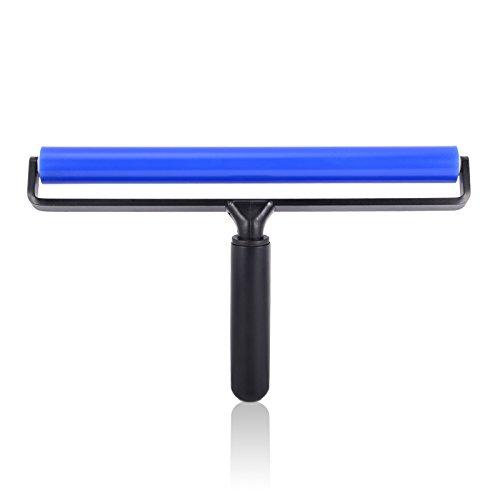 Ehdis 12-inch Wide Glue Silicone Soft Rubber Pasting Roller Squeegee Rolling Wheel Anti-static Sticky Deadener Automotive Vinyl Installation Dust Collection for Film Application Craft Projects